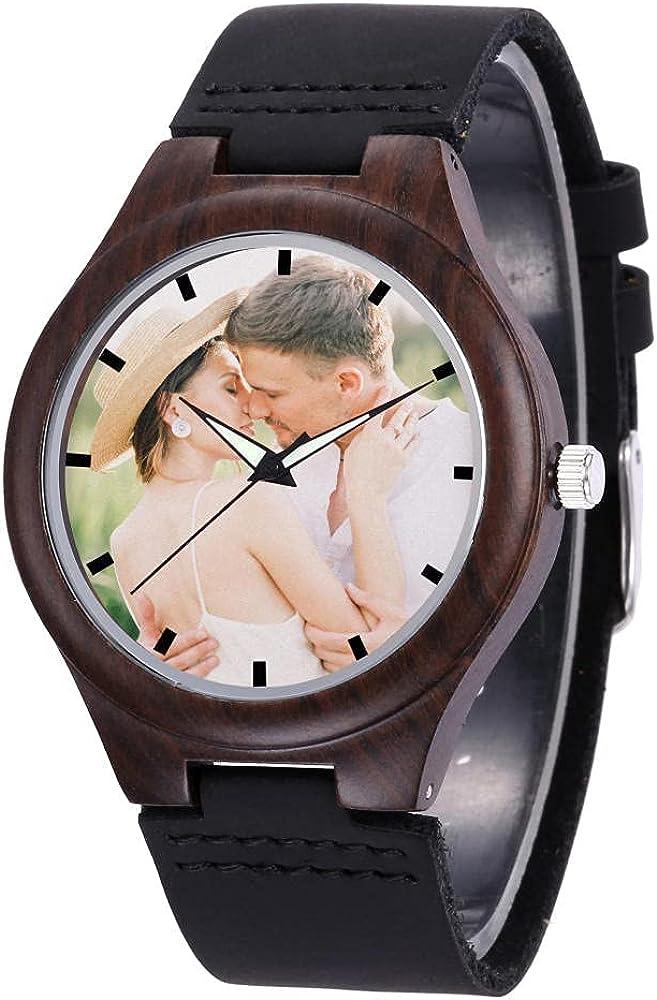 Reloj con Foto Personalizado, Relojes Personalizados Personalizados con Texto de Imagen, para Mujeres Hombres Amigos Pareja Padre Esposo Esposa CumpleañOs Navidad Regalo