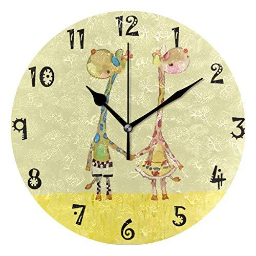 LDIYEU Jirafa De Amor Amarillo Reloj de Pared Silencioso Decorativo Madera Vintage Relojs para Niños Niñas Cocina Dormitorio Hogar Oficina Escuela Decoración