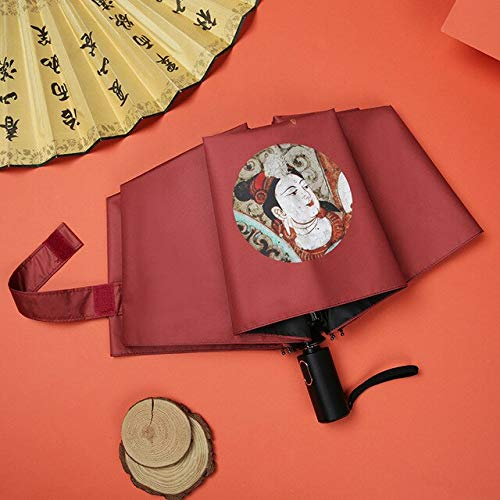 DJMJHG Estilo chino Arte Fresco Automático Paraguas Mujeres Uv Impermeable Paraguas Sombrilla Lluvia Sol Luz Paraguas YD200250RD
