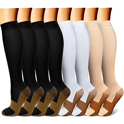Copper Compression Socks (8 Pairs) 15-20 mmHg is BEST Graduated Athletic & Daily for Men & Women Running Travel Nurses Pregnant - Boost Performance, Blood Circulation & Recovery(L/XL,Multicolour 02)