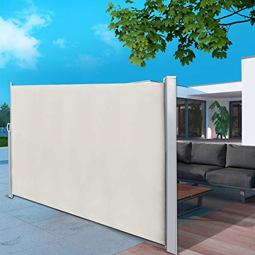 BEAMNOVA Retractable Side Awning Beige Folding Privacy Screen Shade Sails for Patio Room Divider 9.84 x 5.25 Feet Roll Up Balcony