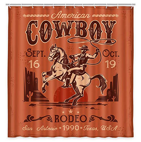 Retro Western Cowboy Shower Curtain, Traditional American Cowboy on Rearing Horse in Desert Cactus Fabric Shower Curtain, Sunset in Wild West Desert Cloth Bathroom Curtains, 69X70in