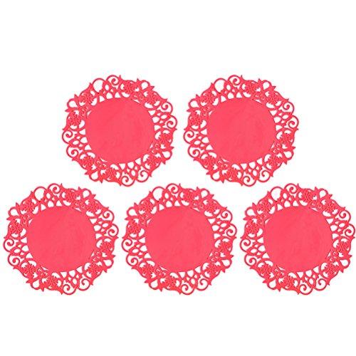 Ounona coloré rond en silicone antidérapant Fleur Dentelle creux Motif table résistant à la chaleur Tapis de tasse à café Coaster Set de table Pad 5 pcs (Rouge)