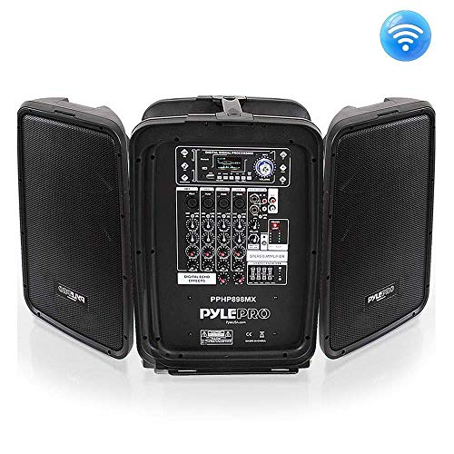 Pyle PPHP898MX 600 Watt 8-Channel Portable Bluetooth Wireless PA Speaker Amplifier Kit with 8' Subwoofer and 1' Horn Tweeter, MP3, AUX - USB Xlr 1/4' RCA