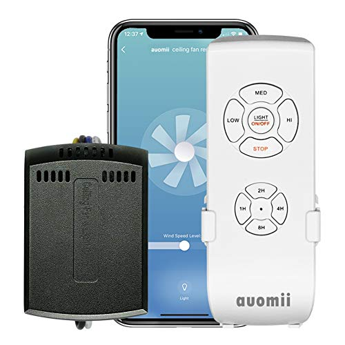 auomii Smart WiFi Ceiling Fan Remote Control Kit, Universal Version, Controlled by Smart Phone/Remote/Voice, Compatible with Alexa, Google Assistant and Smart Life App, No Hub Required