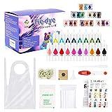 MUSCCCM Tie Dye Kit de 18 colores textiles para niños, adultos, lavable a máquina, no se decolora, para manualidades con cintas de goma, delantales, bolsas selladas, manteles y otros