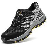 Zapatos de Seguridad para Hombre, Zapatillas con Puntera de Seguridad Calzado de Industrial y Deportiva S1P,Negro,39EU