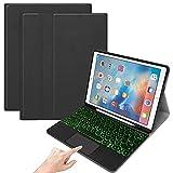 SsHhUu Funda con Teclado para iPad de 6ª generación, iPad de 5ª generación, iPad Air 2 & 1, Cubierta Protectora con Soporte para lápiz, retroiluminación Touchpad Teclado Bluetooth inalámbrico, Negro