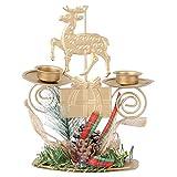 SOIMISS Candelabros de Navidad Candelabro Soporte de Vela Luz de Té Candelabro Votivo con Reno Pino Mesa Centro de Mesa para Vacaciones de Navidad