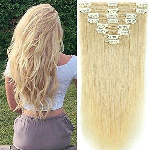 Clip in Extensions Set 100% Remy Echthaar 8 Teilig Haarverlängerung dick Dopplet Tressen Clip-In Hair Extension (35cm-120g,#60 Platinum Blonde)