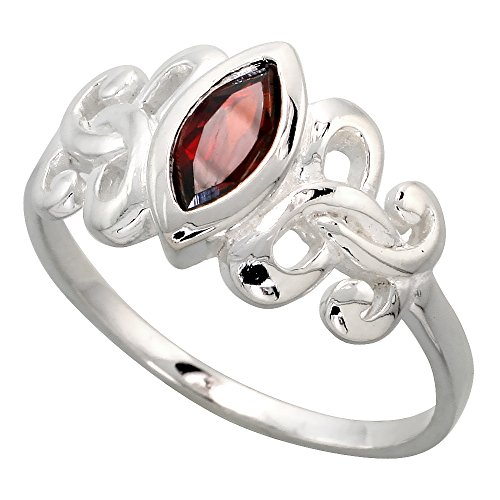 Sterling Silver Celtic Motherhood Knot Ring with Natural Garnet 3/8 inch Wide, Size 7