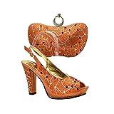 Juego de zapatos y bolsos italianos para mujer, color plateado, para combinar con zapatos nigerianos y bolsa a juego, zapatos y bolsos africanos de boda, (Naranja23), Medium