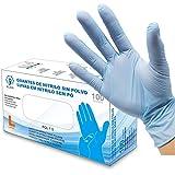 Guantes de Nitrilo Sin Polvo - Talla L - AQL 1.5 Guantes Desechables Ambidiestros Reciclables. Ideales para Uso de Alimentos, Limpieza, Bricolaje, Belleza, Industrial y Sanitario. Color Azul