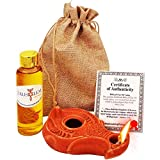 Herodian - Wise Virgins - Biblical Replica Ancient Oil LAMP and Flask of Olive Oil from Bethlehem in Sackcloth Gift Bag & Certificate of Authenticity Hanukkah-Judaica/Christian Gift
