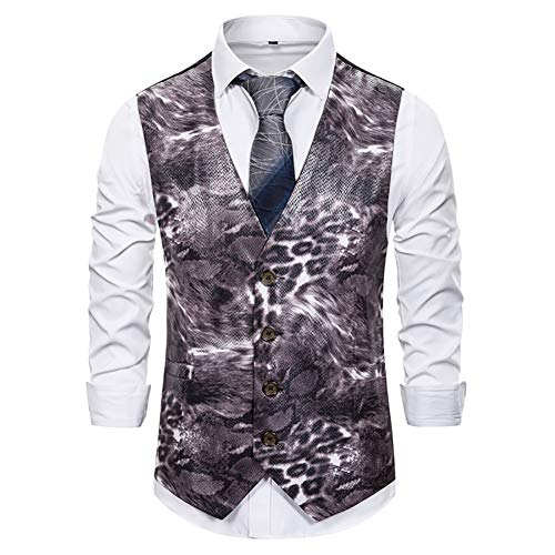 Story of life Glossy Klage-vest mannen glitter dierpatroon gedrukt vest eenrijs met V-hals Prom Party Gilet
