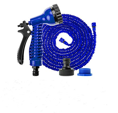 YIYIYI 50-150 ft aufblasbare Flexible schwere Garten Magic Wasserschlauch Spritzpistole (Nach 7,5M Verlängerung ca. 22,5M + Gießkanne, Blau)