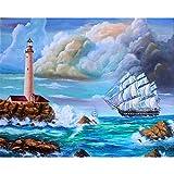 sxh2818517 - Cuadro digital para manualidades, diseño de paisaje marítimo, pintura acrílica moderna para salón, decoración del hogar, caligrafía y pintura sin marco DIY Framed 40x50cm Ra3372.