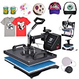 MosaicAL All in One T-Shirt Heat Press Machine Latte Mug Cup Sublimation Printing Hot Press Clamshell Transfer T-Shirt Steel Frame Latte Mug (5 in 1-Digital)
