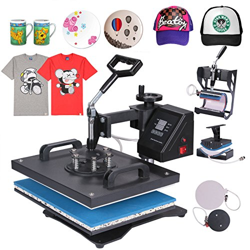 Chaneau Presse à Chaud Transfert Press Machine 5 en 1 Multifonctionnel Machine De Transfert sur T-Shirt Tasse Chapeau Cap Plate (5 en 1)