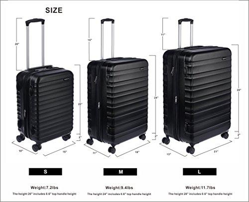 AmazonBasics Hardside Carry On Spinner Travel Luggage Suitcase - 21 Inch, Black