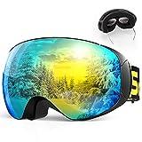 SKEY スキーゴーグル スノーボード ゴーグル ダブルレンズ 100%UVカット 曇り止め 180°広視野 レンズ着脱可 メガネ対応 防風/防塵/防雪/耐衝撃 男女兼用 日本語説明書付き
