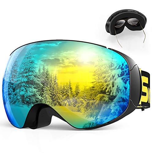 SKEY Skibrille Herren und Damen Snowboard Brille Doppel-Objektiv Anti-Fog UV-Schutz Winddicht Motocross Helmkompatible Magnetisch Verspiegelt Wechselobjektive für Ski Goggles Brillenträger OTG Golden