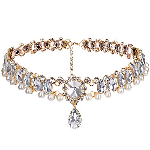 CrazyPiercing Fashion Womens Pearl Collar Crystal Diamond Chunky Choker Pendant Bib Necklace Gold
