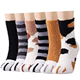 Cozy Fluffy Socks for Women - 6 Pairs Winter Warm Girls Super Soft Fuzzy Home Bed Cat Paw Pattern Socks