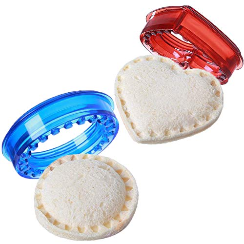 OBSGUMU Sandwich Ausstecher 2er-Set (11 Stück) - Decruster Sandwich Ausstecher, Sicherheitsmaterial DIY Sandwich Cutter für Kinder, Bento Box Zubehör - Ideal für Lunchbox (Blau & Rot)