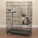 """ProSelect Customizable Cat Cage – Safe and Durable Wire and Plastic Cage Measuring 35.5"""" x 22.25"""" and 48"""" Tall"""