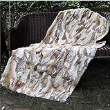 22in x 43in Natural Tan Luxury Soft Premium Quality Durable 100% Natural Rabbit Fur Bed Throw Blanket, Rug, Real Fur Good Buy Hot Carpet ,Rabbit Fur Blankets/Plates