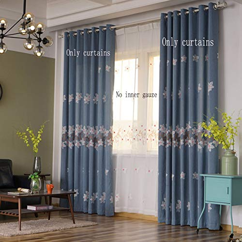 Fresh Coton Et Lin, Broderies, Rideaux, Bleu De Fenêtres, Les Fenêtres, Le Salon, La Chambre Et Les Produits Finis.250 x 270 CM (W x H) x 2,À