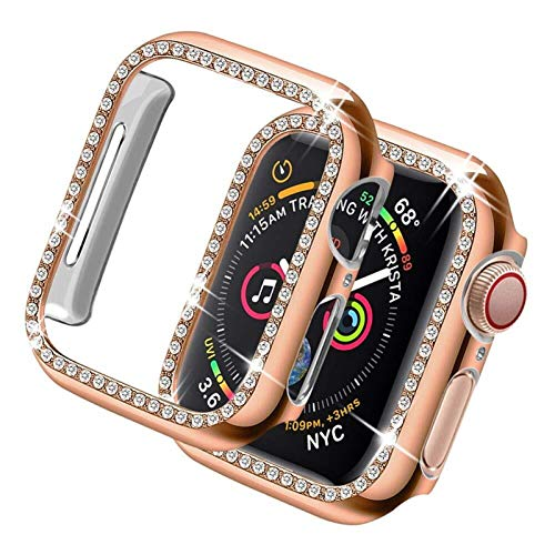 LRJBFC Cubierta de Bling para Apple Watch Case 44mm 40mm para iWatch 42mm 38mm Diamante Protector de Parachoques Serie 6 5 4 3 2 Se Accesorios (Color : Rose, Dial Diameter : 40mm Series 654 SE)