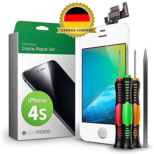 GIGA Fixxoo Display Set kompatibel mit iPhone 4s, Reparaturset Komplett Weiß, Ersatz Bildschirm, Retina LCD Glas mit Touchscreen, inkl. integrierte Frontkamera & Werkzeug