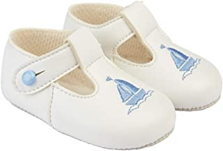 Early Days Baypods, B119 Button T Bar with Yacht Embroidery, Pre Walker Baby Shoes Made in The Softest Faux Leather, Made in England