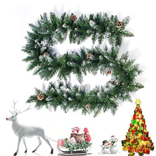 2,7 m kunstmatige kerstmis rotan Garland Tree Pine Cone hangende haard Cane Home Garden Decor