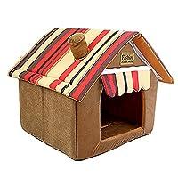 貝殻型ペットハウス 猫ハウス 寝袋 可愛い 子犬用 ドーム型ペットベッド マカロン色 取り出せる 洗える 保温 ふわふわ 秋冬 犬猫兼用 室内用ペットベッド もこもこ XS 防寒 秋 冬 安眠 型崩れしにく 綿質 ブラウン ペットハウス