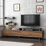 Reboz TV Lowboard 180 x 30 cm Nussbaum Nachbildung Anthrazit Grau Fernsehtisch