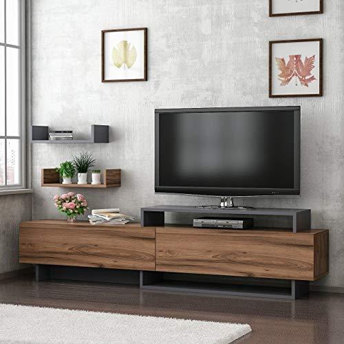 Reboz TV Lowboard 180 x 30 cm notenhout replica antraciet grijs televisietafel