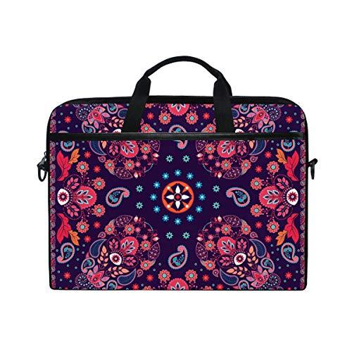 Ahomy 14 Zoll Laptoptasche, Paisleymuster, Leinenstoff, Laptoptasche mit Schulterriemen für Damen und Herren