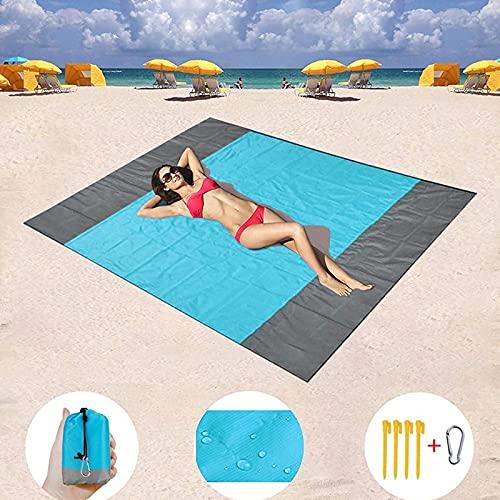 SIAMHOO Manta de playa de gran tamaño para 4 – 8 adultos, impermeable a prueba de arena, tapete de camping plegable, tapete de playa portátil, 200 x 200 cm