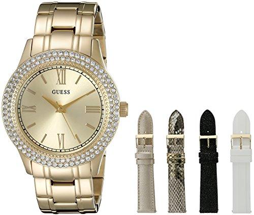 Guess Mujer u0713l2lujo tono dorado reloj conjunto correas intercambiables y bono caja de joyería