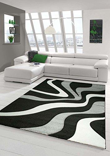 Traum Sala de estar diseñador Alfombra Alfombra contemporánea alfombras de pelo bajo con el patrón de onda de corte de contorno Negro Gris Blanco Größe 160x230 cm
