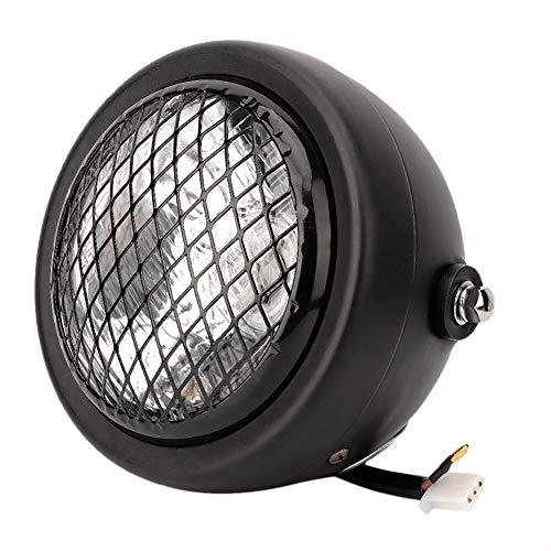Qiilu 12V Motorfiets koplamp, Retro Mesh Grill Guard koplamp voor Chopper Bobber(zwart)