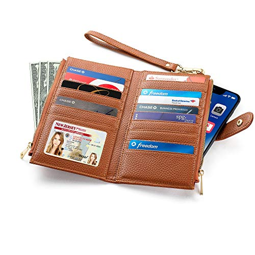 Women's RFID Blocking Bifold Wallet | Multi Card Organizer with Zipper Pockets & Wristlet Strap