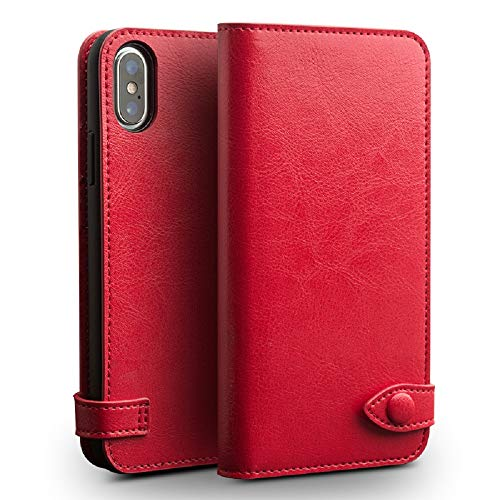 iPhone Xs Max Wallet Case for Women Real Leather Luxury Flip Book Scratch-Proof Best Protective Case with Card Holder Wireless Charging Side Open Closure Covers (Red)