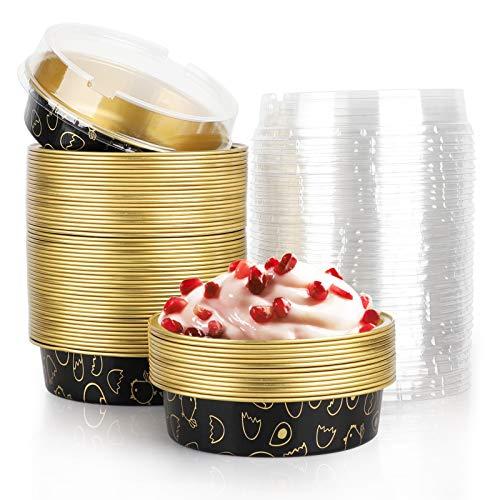 Beasea Mini-Kuchenformen, 50 Stück, 10,2 cm, Einweg-Kuchenformen mit Deckel, schwarz-goldfarben, Aluminium-Kuchenform mit Cartoon-Motiv, runde Backform, Mini-Kuchenform für Kuchen, Torten, Quiche
