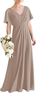 Sponsored Ad - BONOYURY Women's V-Neck A-line Chiffon Long Bridesmaid Dress Ruched Formal Evening Prom Gown with Sleeves