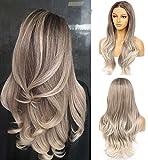 VEBONNY Pelucas de color marrón ceniza para mujeres, ombre plateado rubio encaje frente peluca con raíces marrones, peluca natural ondulada sin pegamento 22 pulgadas parte media VEBONNY-081