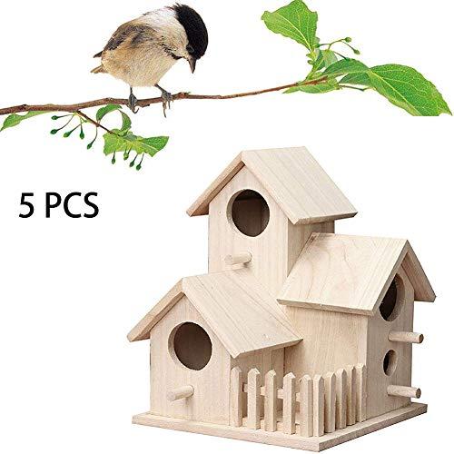 ZXL Houten Vogel Huis, Natuurlijke Hout Decoratieve Vogelhuisje, Geweldig voor Home Décor Projects, Exterieur en Interieur Decoratie, Houten Doos voor Home Decoratie, voor Huis of Tuin. 5 stuks.